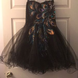 Grace Karin size 10 peacock strapless party dress